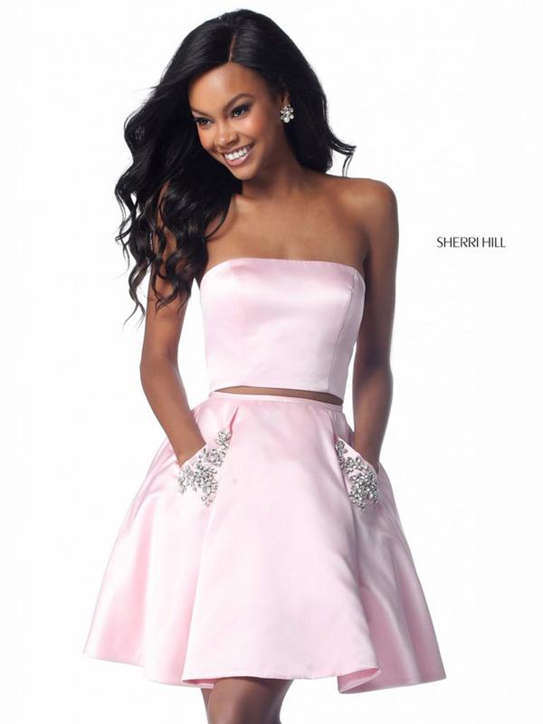 b4dfbde75ae ... Satin Prom Dresses Pink Beaded Pockets. sherrihill 51823 pink ...